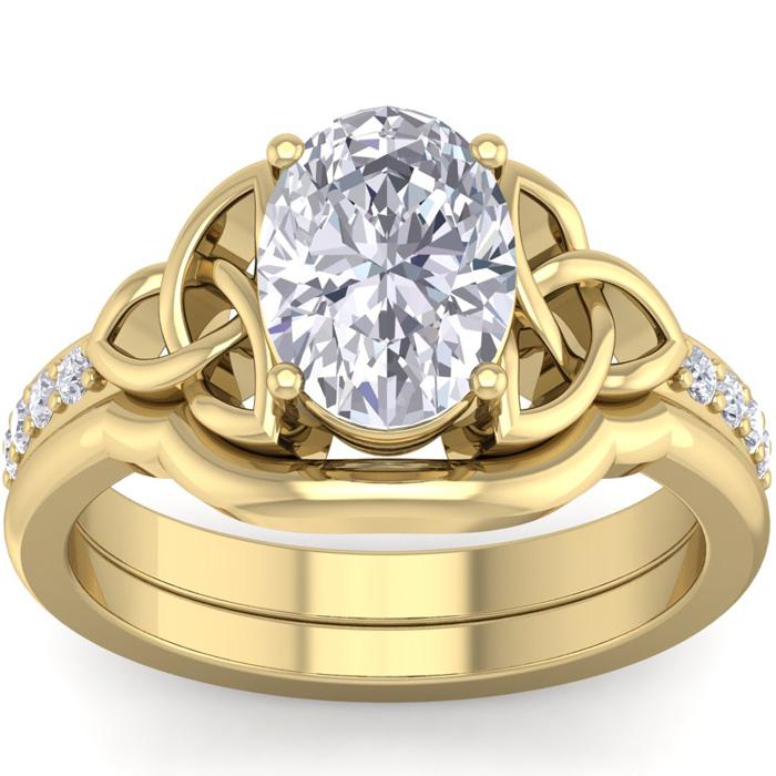 2 Carat Oval Shape Diamond Claddagh Bridal Ring Set in 14K Yellow Gold (7 g) (