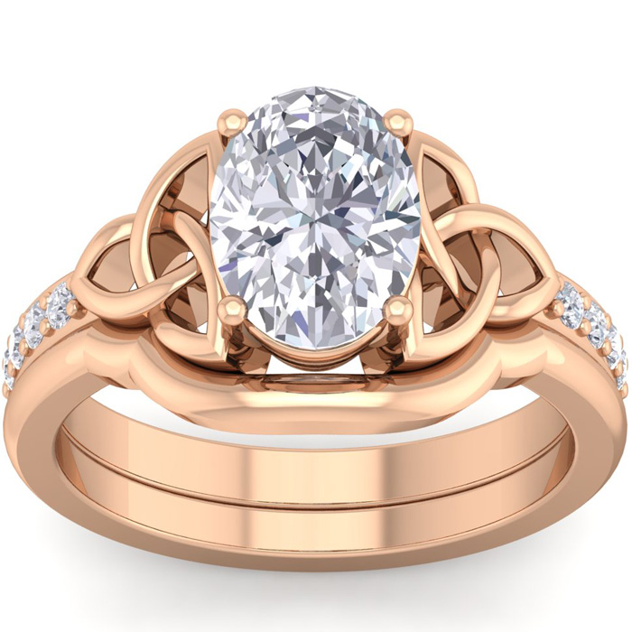 2 Carat Oval Shape Diamond Claddagh Bridal Ring Set in 14K Rose Gold (7 g) (