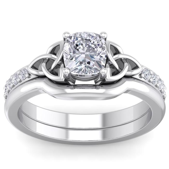1 Carat Cushion Cut Diamond Claddagh Bridal Ring Set in 14K White Gold (6 g) (