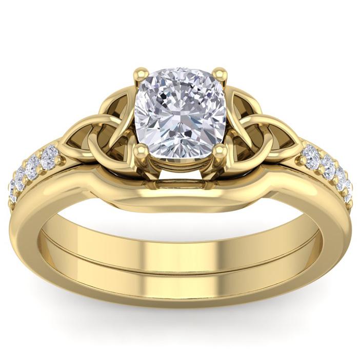 1 Carat Cushion Cut Diamond Claddagh Bridal Ring Set in 14K Yellow Gold (6 g) (