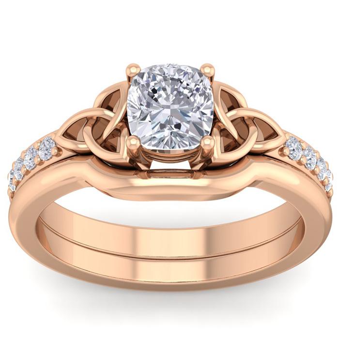 1 Carat Cushion Cut Diamond Claddagh Bridal Ring Set in 14K Rose Gold (6 g) (