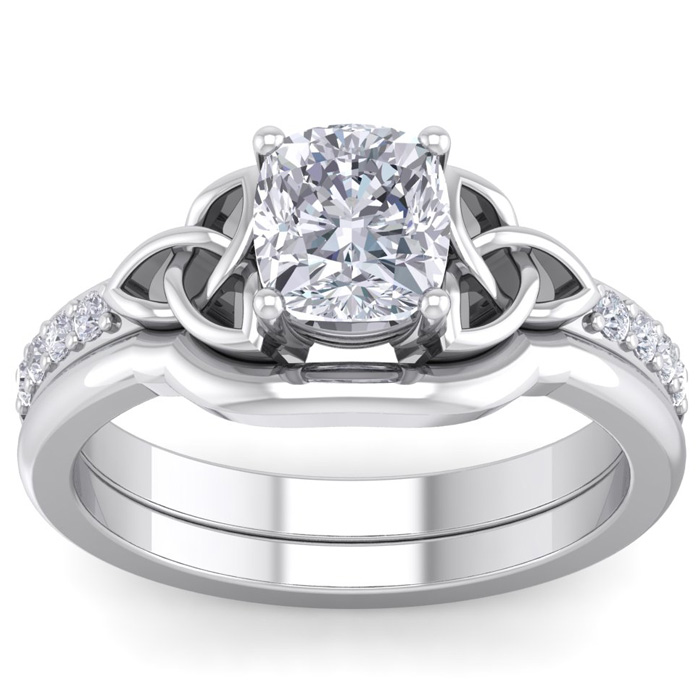 1.5 Carat Cushion Cut Diamond Claddagh Bridal Ring Set in 14K White Gold (6.30 g) (