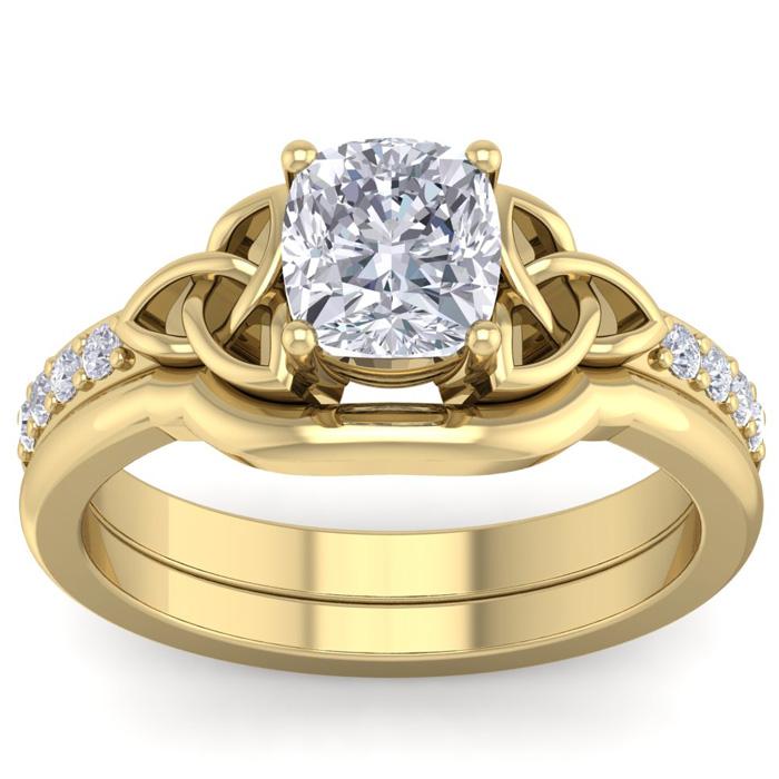 1.5 Carat Cushion Cut Diamond Claddagh Bridal Ring Set in 14K Yellow Gold (6.30 g) (