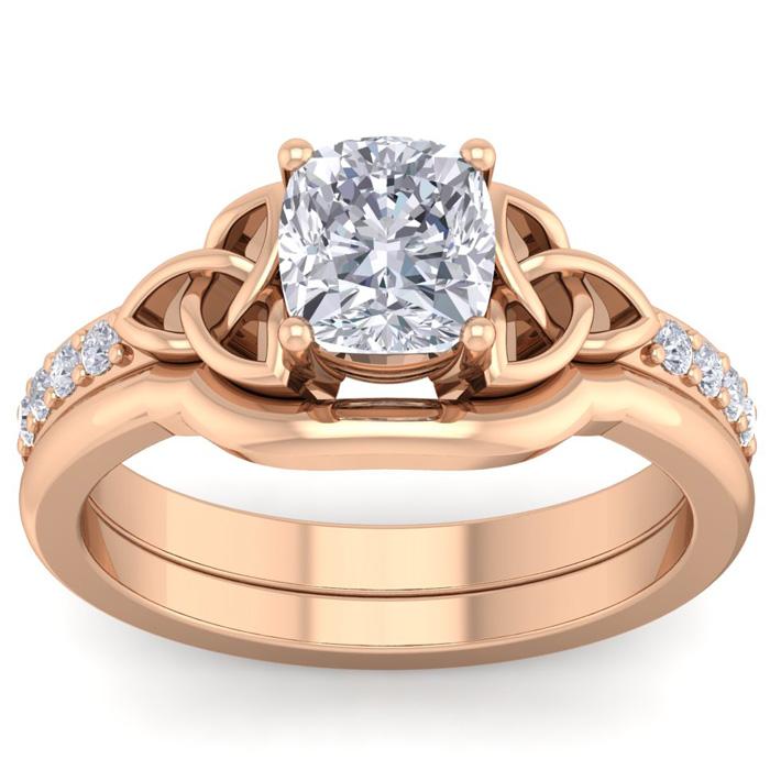 1.5 Carat Cushion Cut Diamond Claddagh Bridal Ring Set in 14K Rose Gold (6.30 g) (