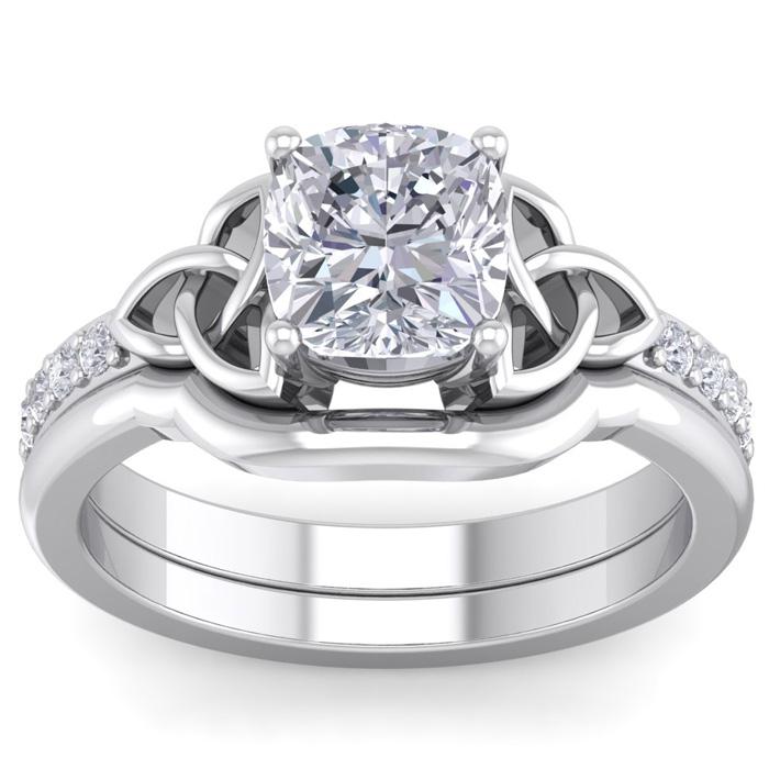 2 Carat Cushion Cut Diamond Claddagh Bridal Ring Set in 14K White Gold (6.50 g) (