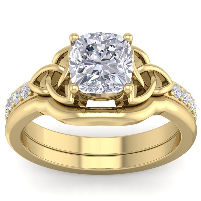 2 Carat Cushion Cut Diamond Claddagh Bridal Ring Set in 14K Yellow Gold (6.50 g) (