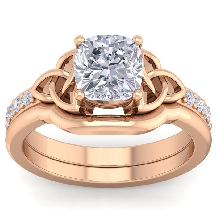 2 Carat Cushion Cut Diamond Claddagh Bridal Ring Set in 14K Rose Gold (6.50 g) (