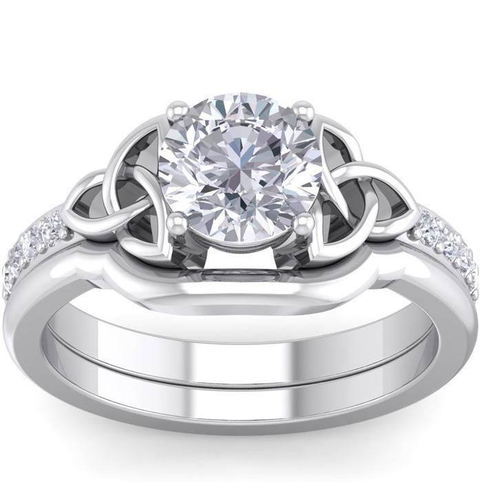 1 Carat Round Diamond Claddagh Bridal Ring Set in 14K White Gold (6 g) (