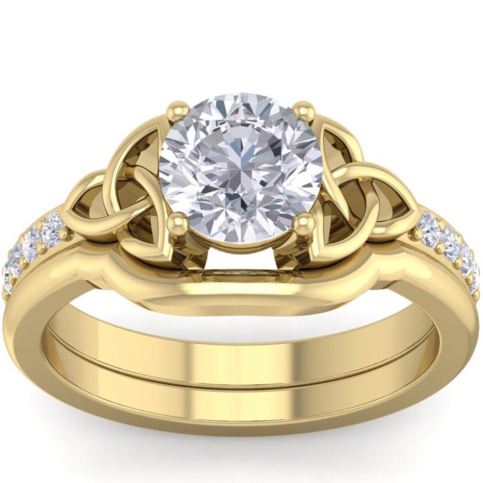 1 Carat Round Diamond Claddagh Bridal Ring Set in 14K Yellow Gold (6 g) (