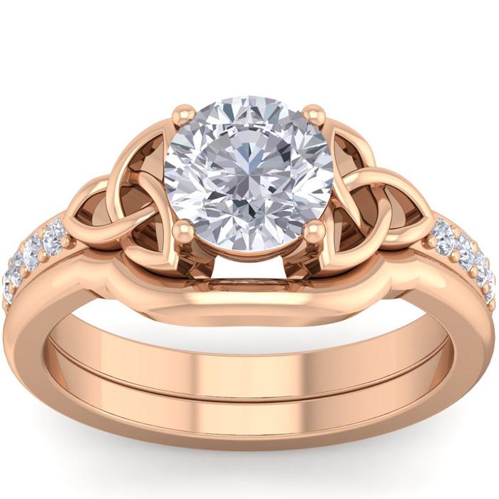 1 Carat Round Diamond Claddagh Bridal Ring Set in 14K Rose Gold (6 g) (