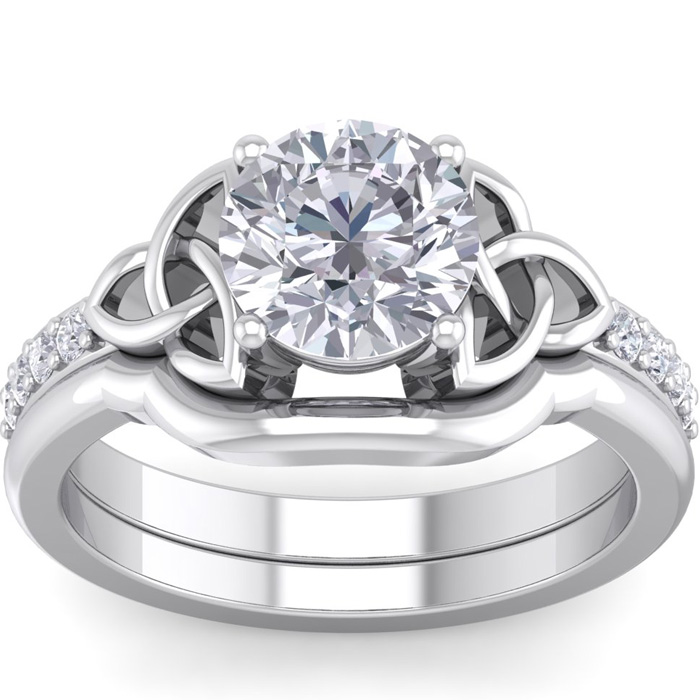1.5 Carat Round Diamond Claddagh Bridal Ring Set in 14K White Gold (6.30 g) (