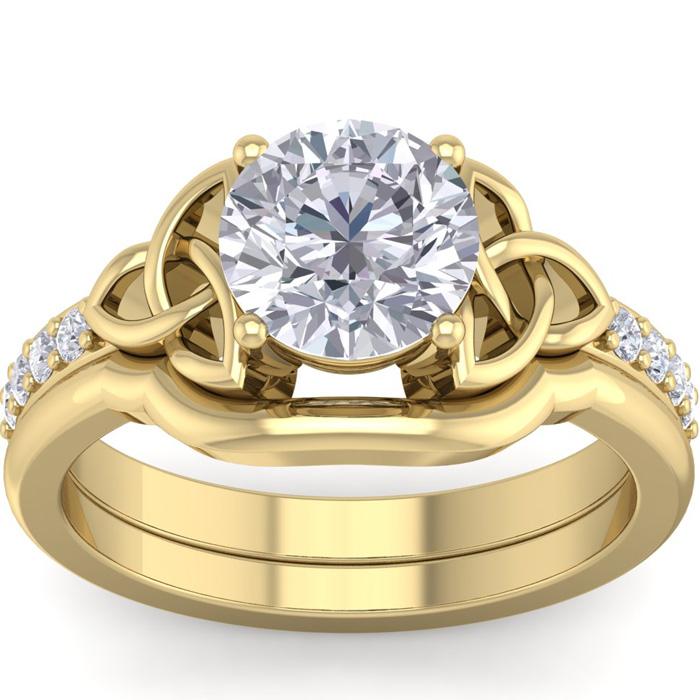 1.5 Carat Round Diamond Claddagh Bridal Ring Set in 14K Yellow Gold (6.30 g) (
