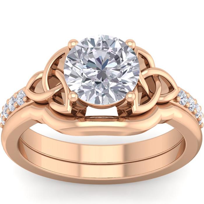 1.5 Carat Round Diamond Claddagh Bridal Ring Set in 14K Rose Gold (6.30 g) (