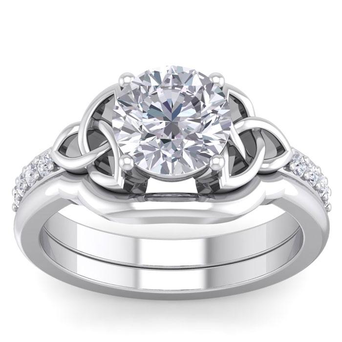 2 Carat Round Diamond Claddagh Bridal Ring Set in 14K White Gold (6.50 g) (
