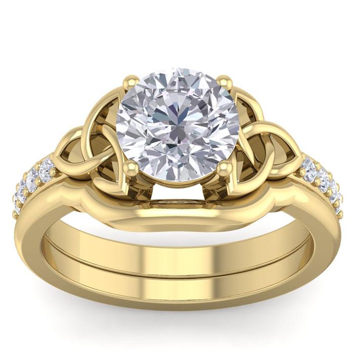 2 Carat Round Diamond Claddagh Bridal Ring Set in 14K Yellow Gold (6.50 g) (