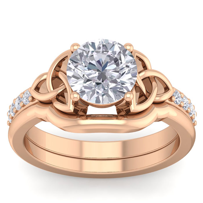 2 Carat Round Diamond Claddagh Bridal Ring Set in 14K Rose Gold (6.50 g) (