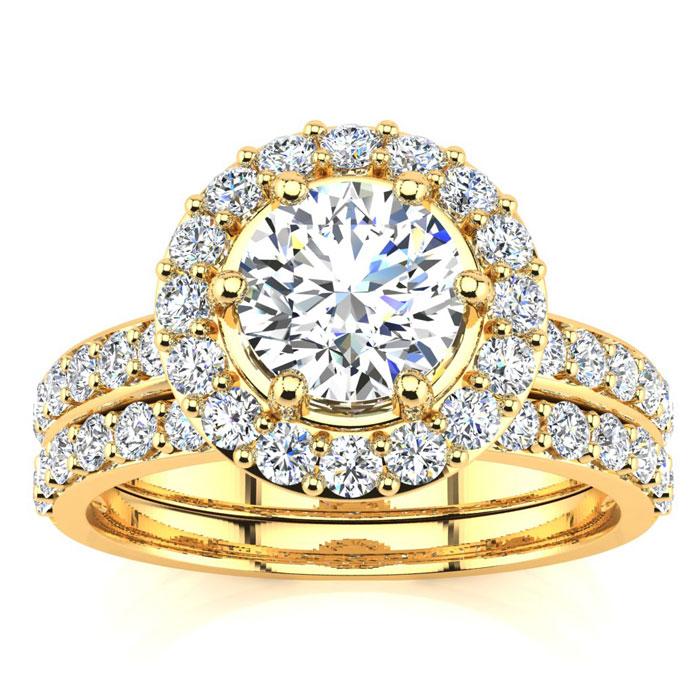 2 Carat Round Floating Halo Diamond Bridal Engagement Ring Set in 14k Yellow Gold (7 g) (