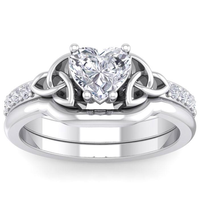 1 Carat Heart Shape Diamond Claddagh Bridal Ring Set in 14K White Gold (6.30 g) (