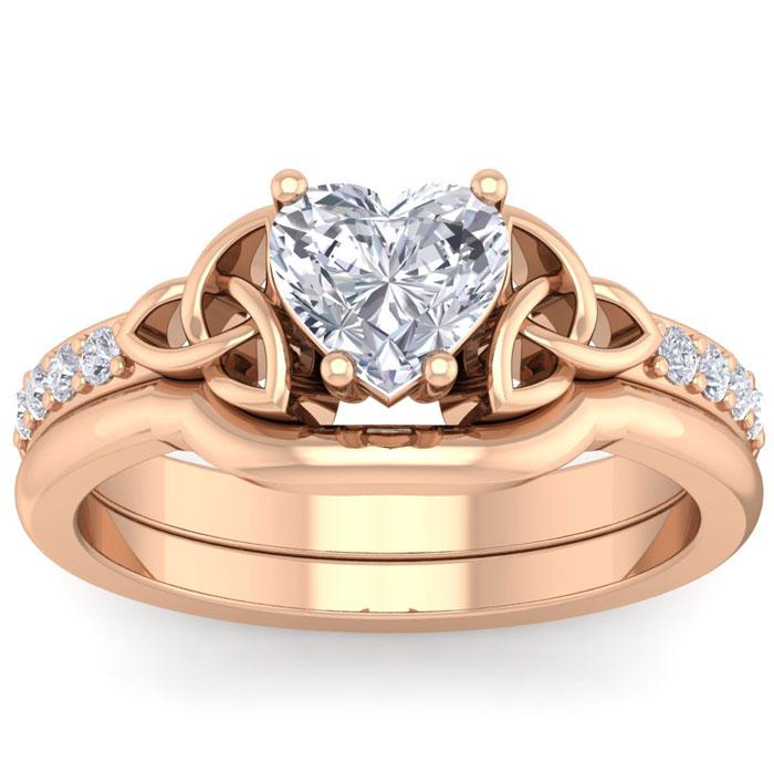 1 Carat Heart Shape Diamond Claddagh Bridal Ring Set in 14K Rose Gold (6.30 g) (
