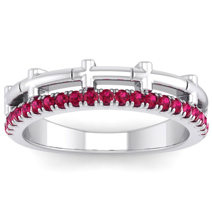 1/3 Carat Ruby Cross Wedding Band in 14K White Gold (4 g), Size 4 by SuperJeweler