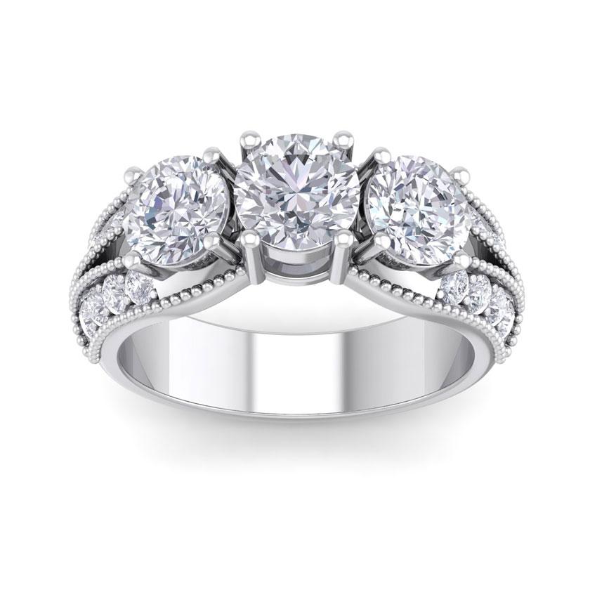 3 Carat 19 Diamond White Gold Ring