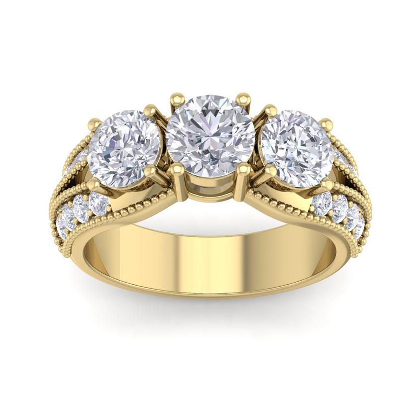 3 Carat 19 Diamond Yellow Gold Ring