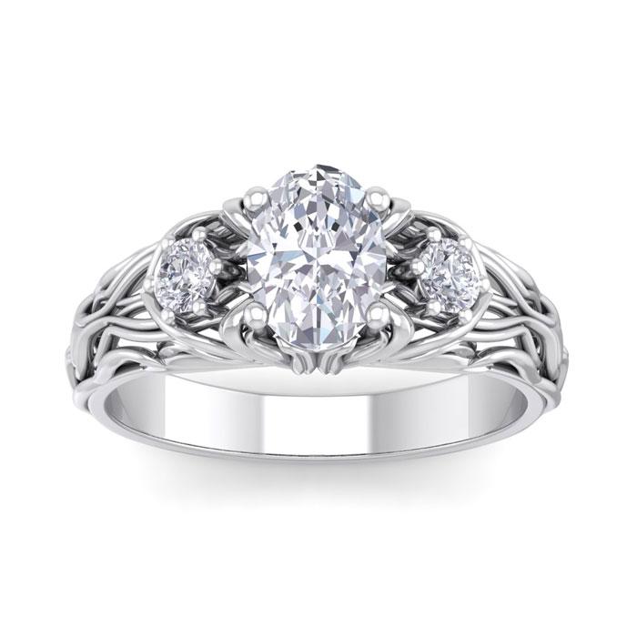 1.25 Carat Oval Shape Diamond Intricate Vine Engagement Ring in 14K White Gold (5.50 g) (