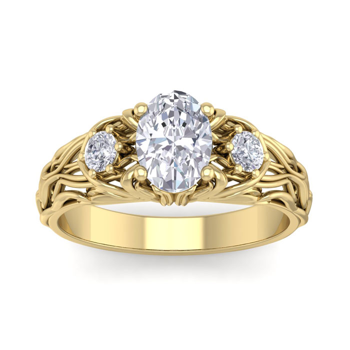 1.25 Carat Oval Shape Diamond Intricate Vine Engagement Ring in 14K Yellow Gold (5.50 g) (
