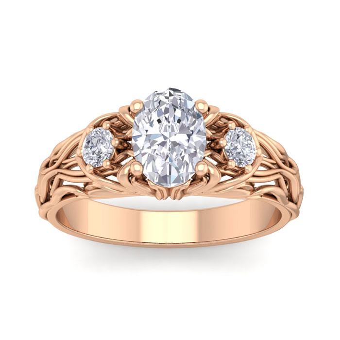 1.25 Carat Oval Shape Diamond Intricate Vine Engagement Ring in 14K Rose Gold (5.50 g) (