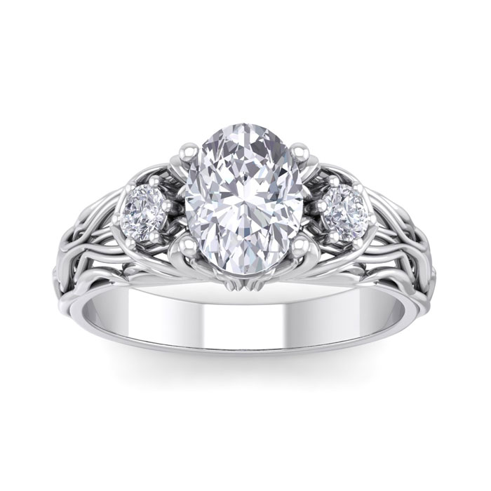 1 3/4 Carat Oval Shape Diamond Intricate Vine Engagement Ring in 14K White Gold (5.50 g) (