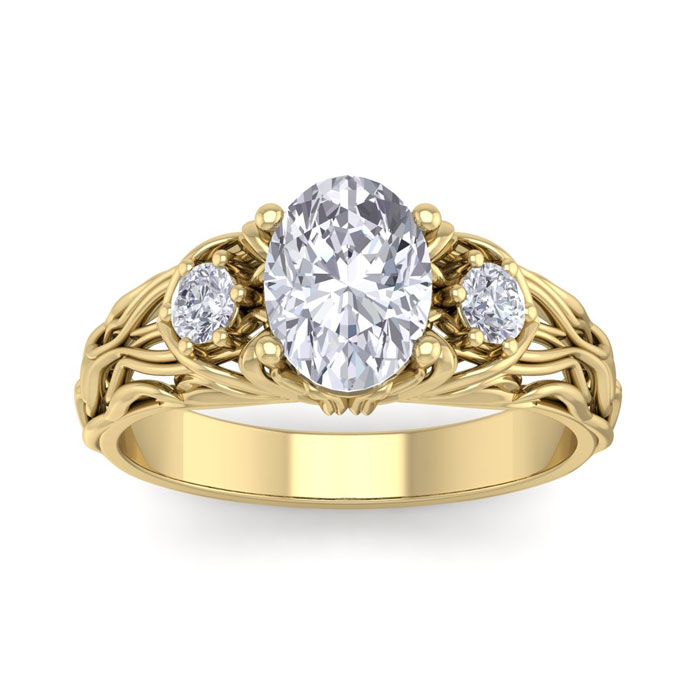 1 3/4 Carat Oval Shape Diamond Intricate Vine Engagement Ring in 14K Yellow Gold (5.50 g) (