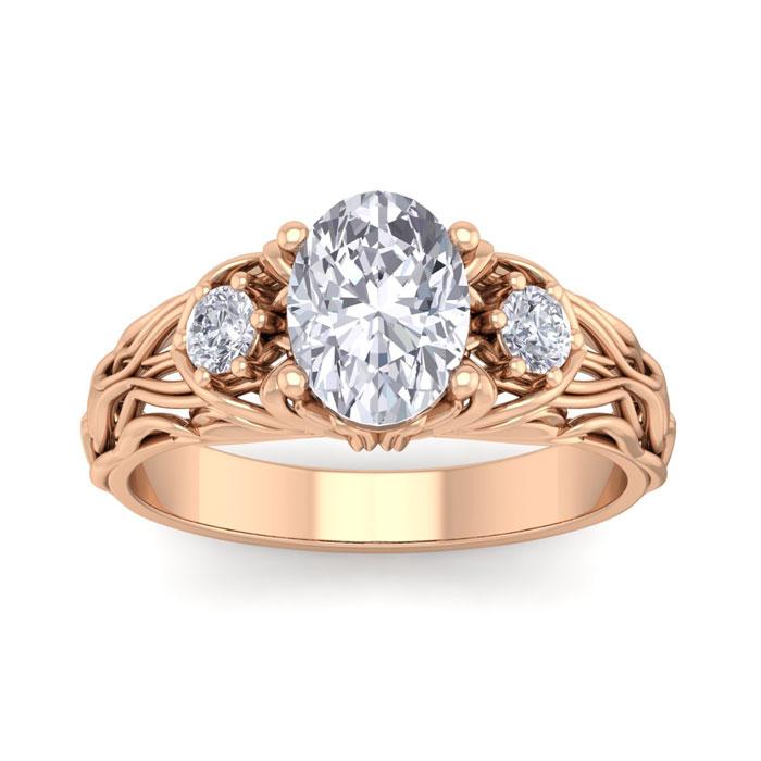 1 3/4 Carat Oval Shape Diamond Intricate Vine Engagement Ring in 14K Rose Gold (5.50 g) (