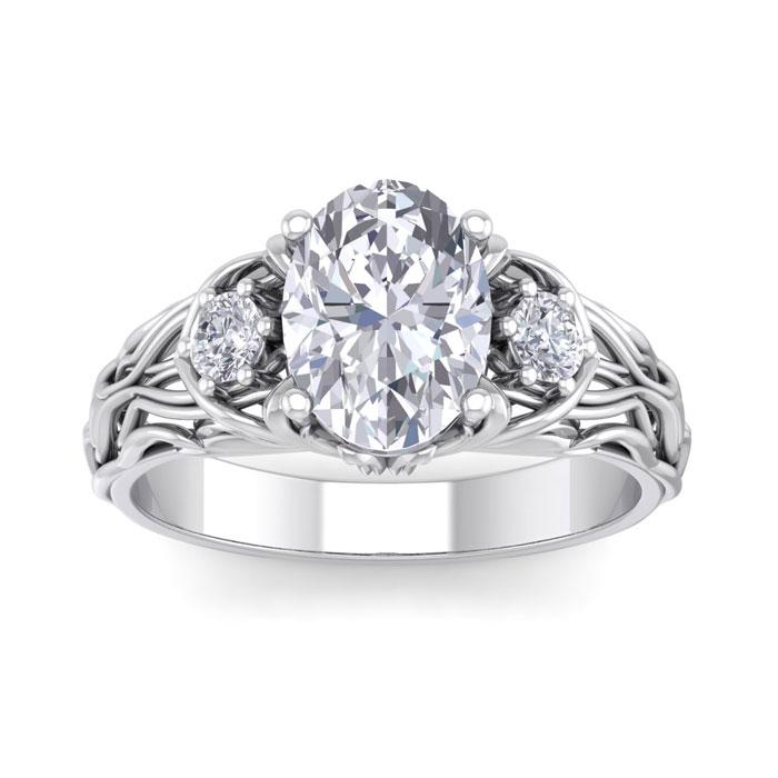 2 1/4 Carat Oval Shape Diamond Intricate Vine Engagement Ring in 14K White Gold (5.70 g) (