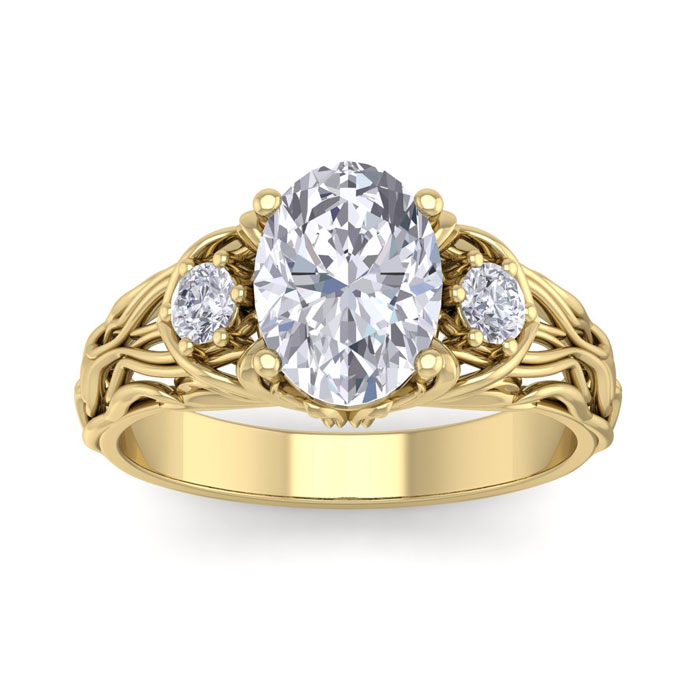 2 1/4 Carat Oval Shape Diamond Intricate Vine Engagement Ring in 14K Yellow Gold (5.70 g) (