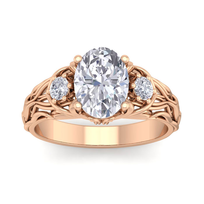 2 1/4 Carat Oval Shape Diamond Intricate Vine Engagement Ring in 14K Rose Gold (5.70 g) (