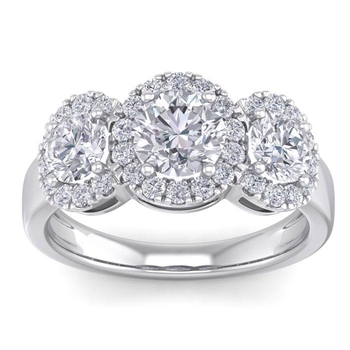 2.5 Carat Round Shape Halo Diamond Three Stone Engagement Ring in 14K White Gold (4.30 g) (