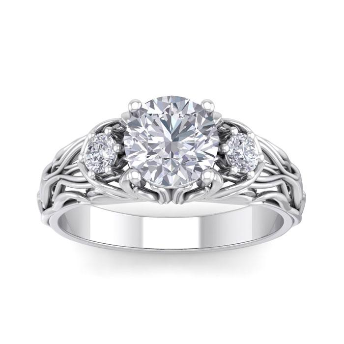 1 3/4 Carat Round Shape Diamond Intricate Vine Engagement Ring in 14K White Gold (5.50 g) (