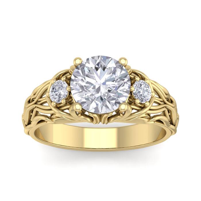 2 1/4 Carat Round Shape Diamond Intricate Vine Engagement Ring in 14K Yellow Gold (6 g) (