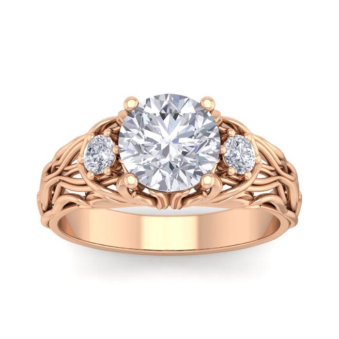 2 1/4 Carat Round Shape Diamond Intricate Vine Engagement Ring in 14K Rose Gold (6 g) (