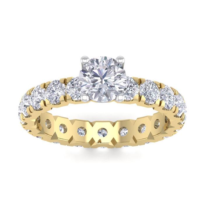 3 Carat Round Shape Diamond Eternity Engagement Ring in 14K Yellow Gold (3 g) (