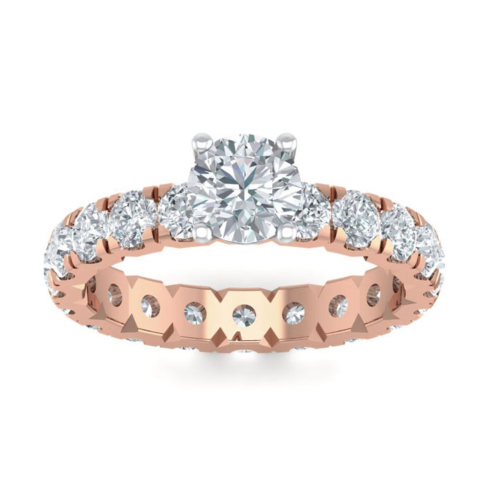 3 Carat Round Shape Diamond Eternity Engagement Ring in 14K Rose Gold (3 g) (