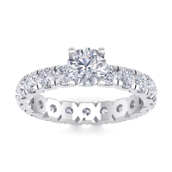 3 Carat Round Shape Diamond Eternity Engagement Ring in 14K White Gold (3 g) (