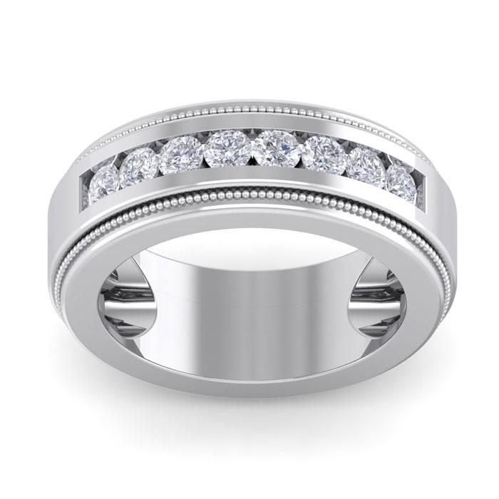 1 Carat Men's Diamond Wedding Band Ring in 14K White Gold (20 g)