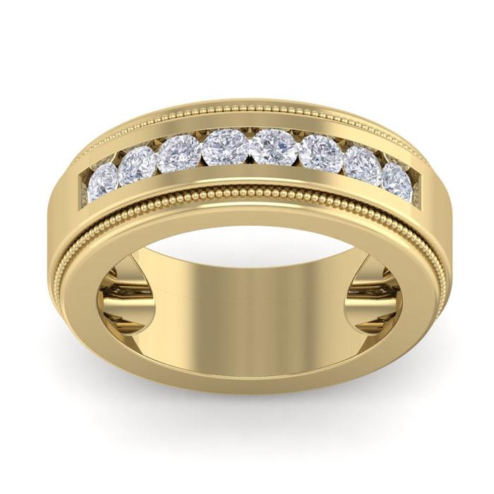 1 Carat Men's Diamond Wedding Band Ring in 14K Yellow Gold (20 g)