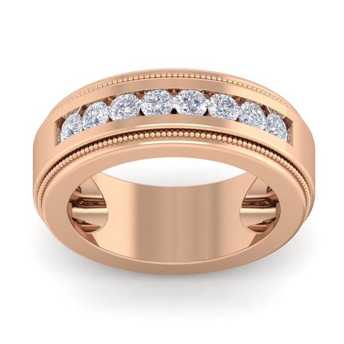 1 Carat Men's Diamond Wedding Band Ring in 14K Rose Gold (20 g)