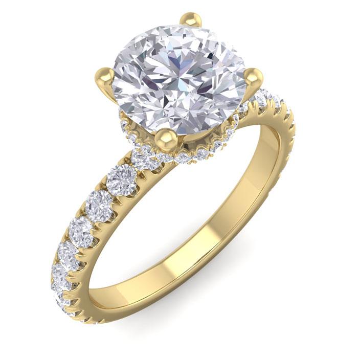 2 Carat Round Shape Hidden Halo Diamond Engagement Ring in 14K Yellow Gold (3.20 g) (