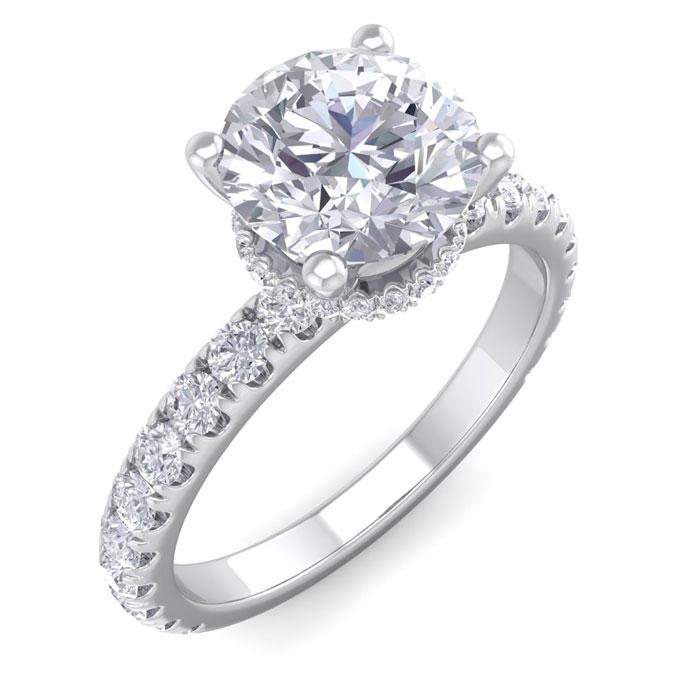 2 Carat Round Shape Hidden Halo Diamond Engagement Ring in 14K White Gold (3.20 g) (