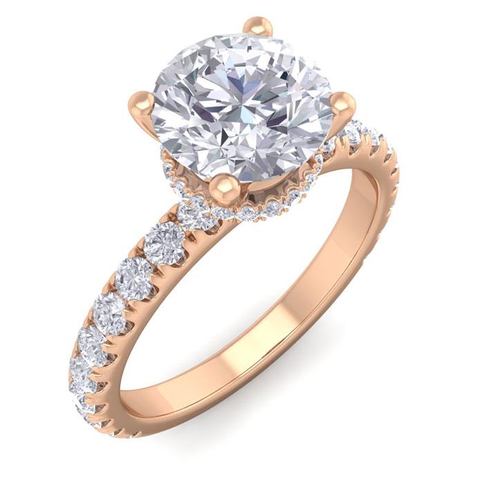 2 Carat Round Shape Hidden Halo Diamond Engagement Ring in 14K Rose Gold (3.20 g) (