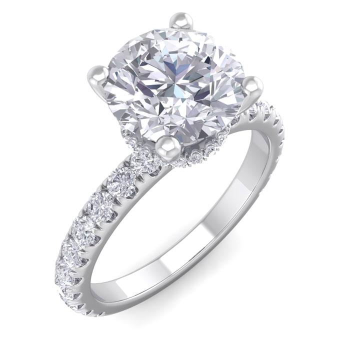 2.5 Carat Round Shape Hidden Halo Diamond Engagement Ring in 14K White Gold (3.40 g) (