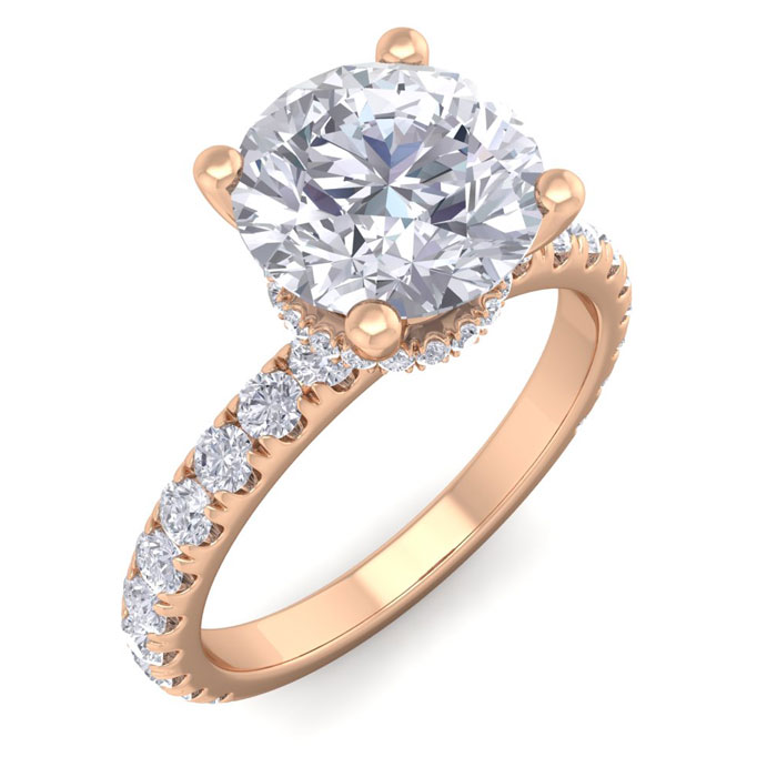 2.5 Carat Round Shape Hidden Halo Diamond Engagement Ring in 14K Rose Gold (3.40 g) (